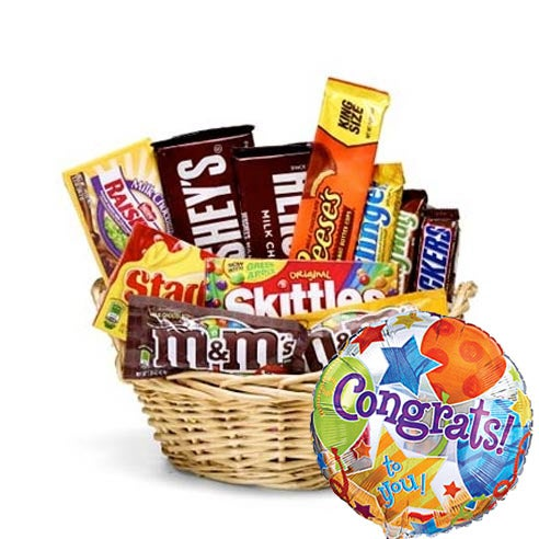 Candy gift basket delivery for men with congratulations balloon bouquet