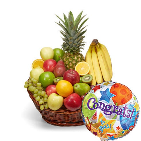 Congratulations gift basket with fresh fruits & same day balloon delivery