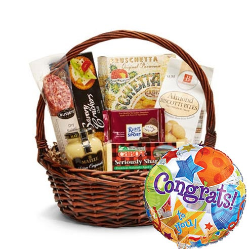 Gift and gourmet basket cheese with balloon delivery and gift basket delivery