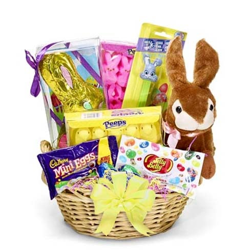 Good Easter presents delivery gift basket for Easter with candy and plush bunny