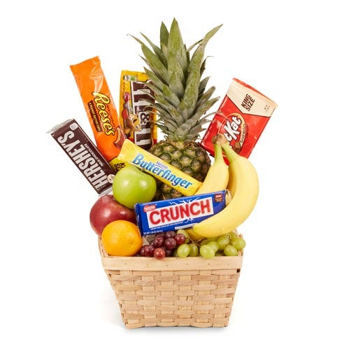 fruit and chocolate gift basket with delivered fruits and candy bars