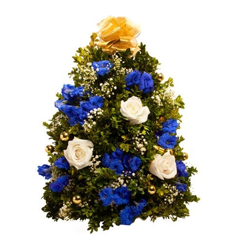 blue and gold mini christmas tree tabletop arrangement