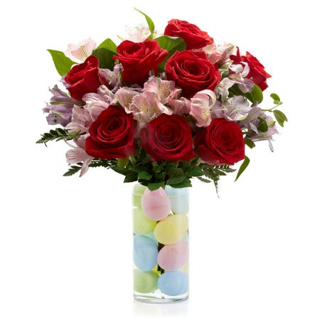 cheap easter flowers delivered in a red rose egg flower bouquet