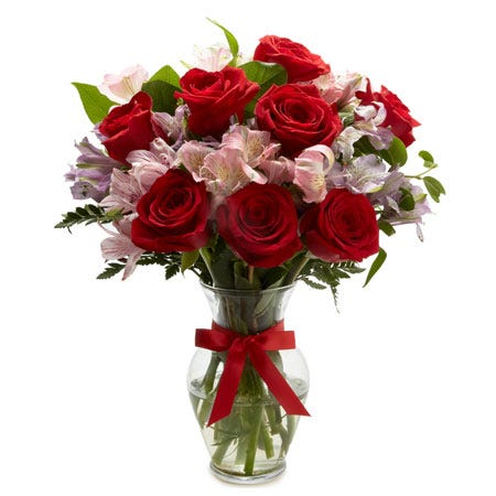 Red rose and pink alstroemeria mixed flower bouquet flower delivery with vase