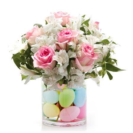 cheap easter flowers delivered inside a pink rose egg flower bouquet