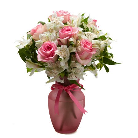Pink rose bouquet with white alstroemeria