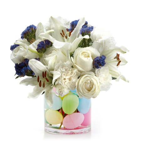 Easter gifts to send Easter white lily egg flower bouquet