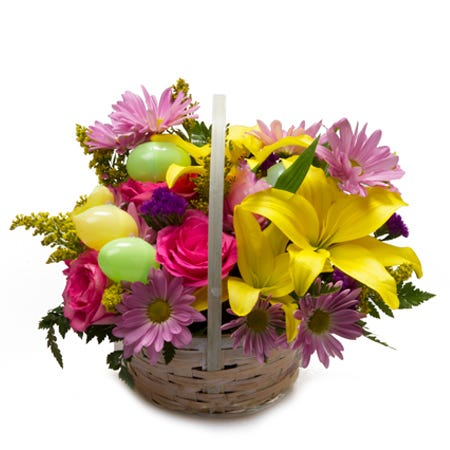 Easter egg flower basket bouquet arrangement for Easter flower delivery