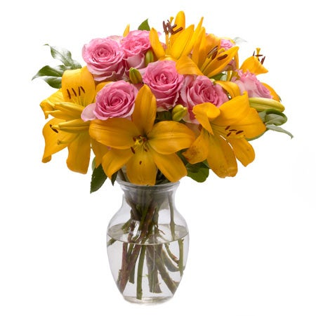Mothers Day present ideas yellow lily pink rose bouquet