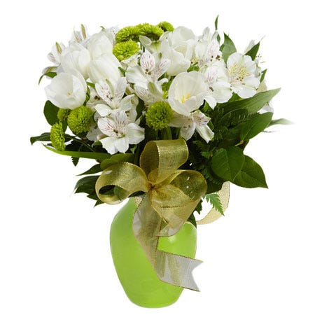 green bouquet and green flower bouquet with white tulips, green mums and cheap flowers