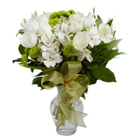 Green tulip bouquet with cheap flowers for same day flower delivery