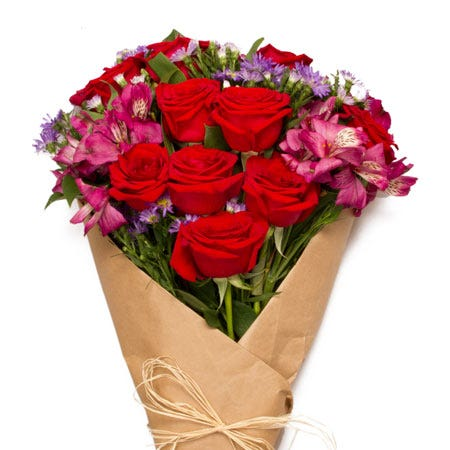 hand delivery wrapped red rose bouquet gift with cheap flowers