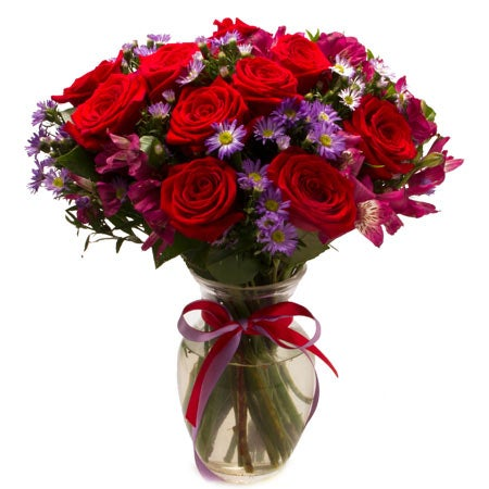 Red rose bouquet, a red and purple flower bouquet with roses, alstroemeria, cheap flowers