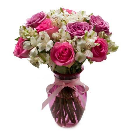 Pastel rose bouquet with pink roses and lavender roses