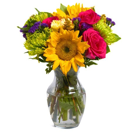 Contemporary sunflower bouquet with carnations and roses