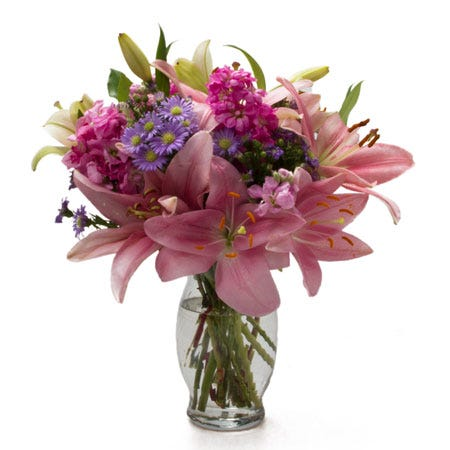 Mixed pink lily bouquet cheap at send flowers flower delivery service