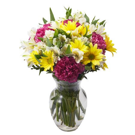 Mixed flower bouquet delivery with purple carnations, yellow daisy and cheap flowers