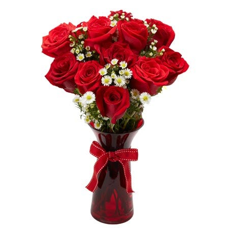 Farm fresh red roses with petite white flowers delivered in a red glass vase