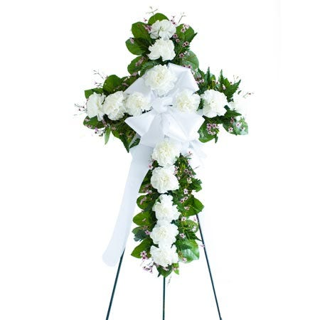 White sympathy cross flower standing spray with easel stand included