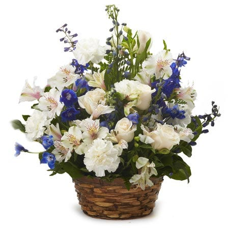 Flower baskets delivery and blue flower sympathy flower delivery gift
