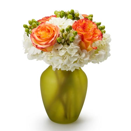 Luxury flower bouquet delivery with orange roses and white hydrangea