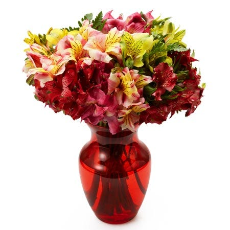 Mixed alstroemeria bouquet with red vase