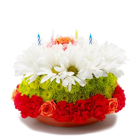 White daisy flower cake and mixed colorful flower cake arrangement