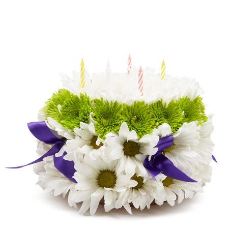 birthday flower cake arrangement