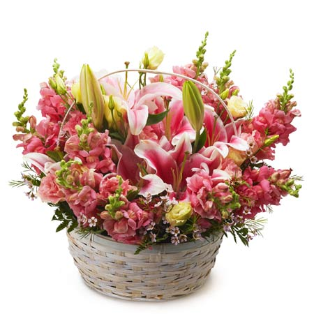 Pink stargazer lily basket arrangement with pink stargazer lilies and snapdragons