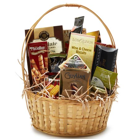 Mixed snack gifts basket with cookies, crackers, grapes, cheese, meats & nuts