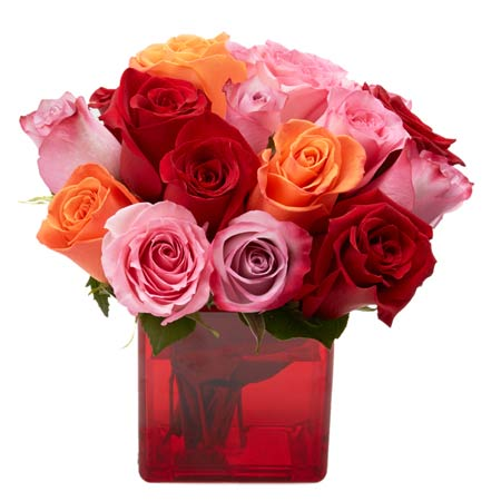 Sundry mixed rose bouquet in deep red vase vase