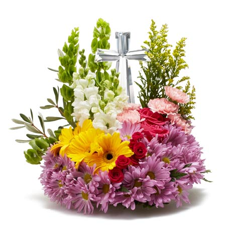 Crystal cross flower arrangement for sympathy and funeral flower delivery same day