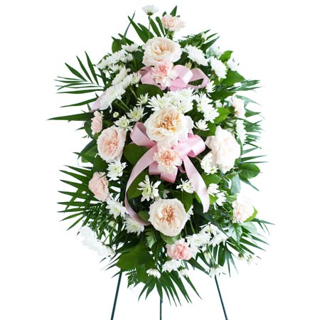 Cheap pink rose and carnation standing spray for a funeral with easel