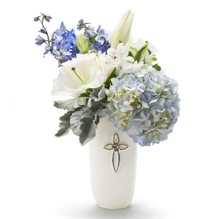 Cross flower bouquet same day sympathy flowers with blue hydrangea and delphinium