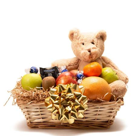 Teddy bear fruit gift basket delivery with fresh fruit, chocolate, and plush bear
