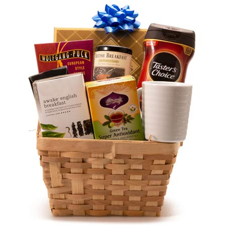 Cheap coffee tea gift basket with coffee, tea and chocolate