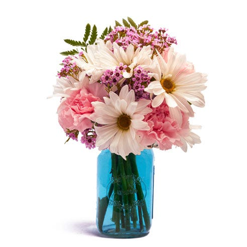 pastel flowers mason jar bouquet by send flowers for same day flowers delivery