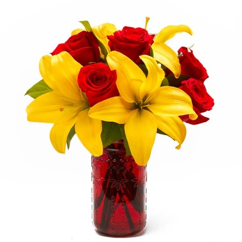 Valentine's Day bouquet delivery yellow lily red rose mason jar bouquet