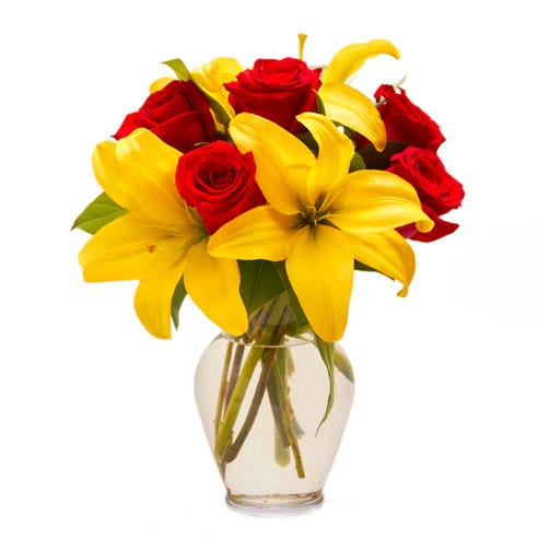 yellow lily and red rose arrangement for same day admin day flower delivery