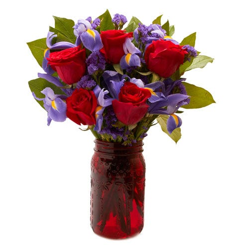 rose mason jar bouquet delivery at send flowers, a cheap red roses bouquet online