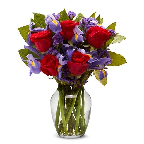 Red rose and iris bouquet