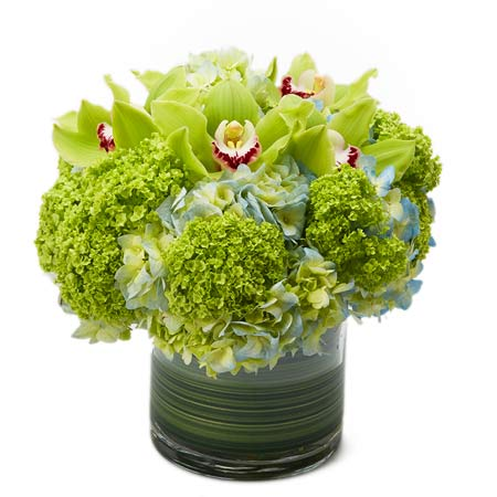 Ideas for Halloween gifts, a green cymbidium orchid bouquet