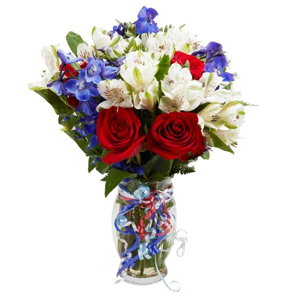 Three cheers flower bouquet at send flowers military flower bouquet with red white blue flowers red roses and blue delphinium mightylinksfo