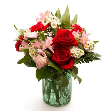 Spring red roses mason jar flower arrangement and mason jar flowers delivery