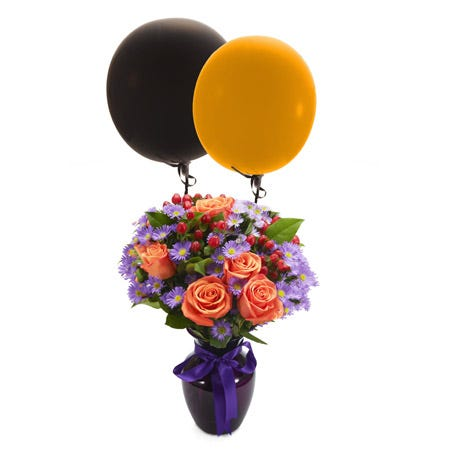 Orange roses with petite purple flowers with balloons