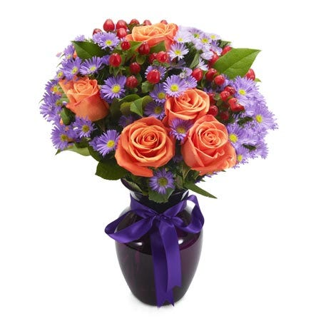 Orange and purple bouquet with orange roses and purple monte casino flowers
