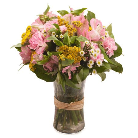 Cheap pink carnation and pink alstroemeria bouquet of same day flowers online