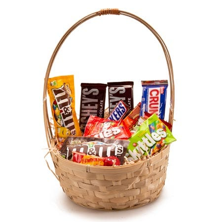 cheap candy gift basket delivery at send flowers