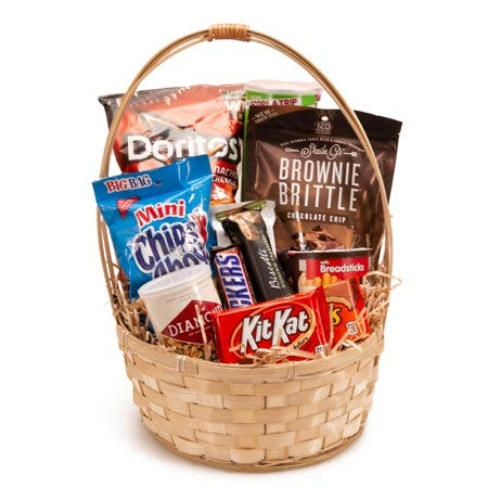 Junk food gift basket delivery from send flowers