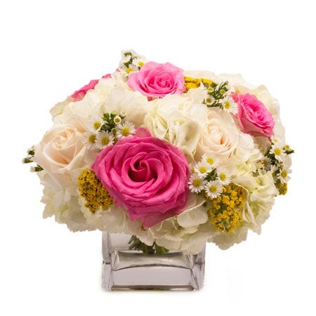 White hydrangea white rose and hot pink rose bouquet, elegant flower delivery